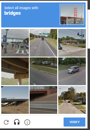 "A screenshot of a reCAPTCHA challenge shows a grid of photos with instructions for the user to click any photos that include bridges. Icons below allow the user to refresh with a new set of images or hear an audio challenge instead. There is also a ""Verify"" button."